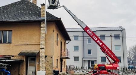 Vložkovanie komína s využitím pracovnej plošiny