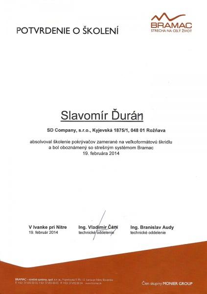 Osvedčenie o absolvovaní školenia pre prácu so strešným systémom Bramac
