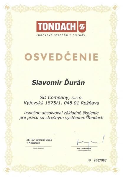 Osvedčenie o absolvovaní školenia pre prácu so strešným systémom Tondach